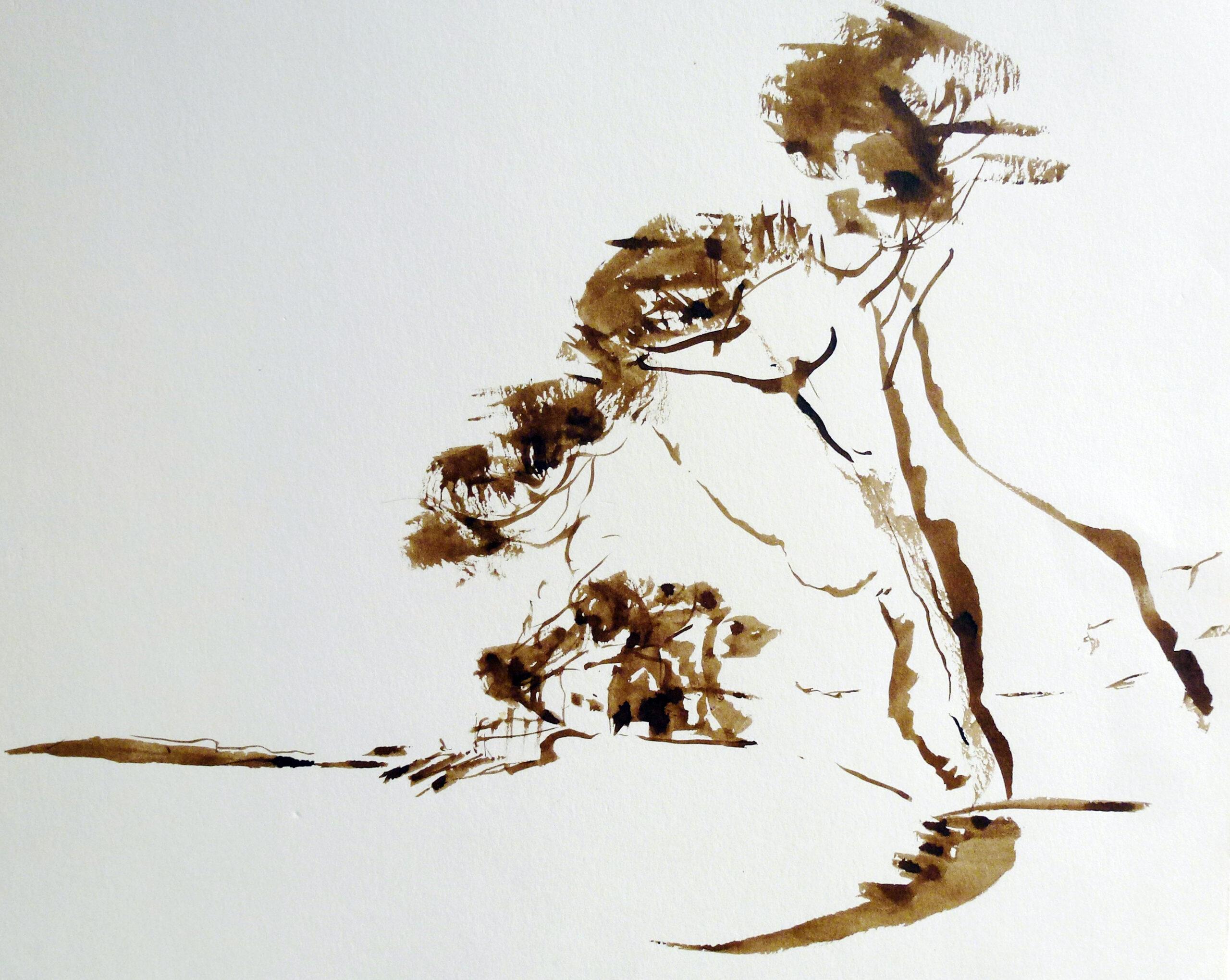 Pinsel-Zeichnung, 40 x 40 cm
